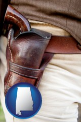 al a gun in a Western-style, leather holster