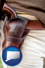 connecticut map icon and a gun in a Western-style, leather holster
