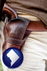 washington-dc map icon and a gun in a Western-style, leather holster