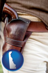 delaware map icon and a gun in a Western-style, leather holster
