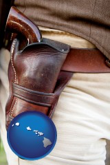 hawaii map icon and a gun in a Western-style, leather holster