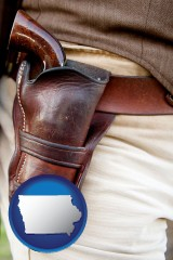 iowa a gun in a Western-style, leather holster