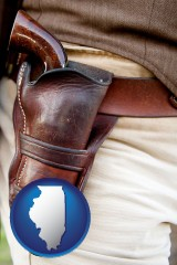 illinois map icon and a gun in a Western-style, leather holster