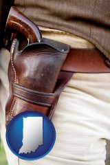 in a gun in a Western-style, leather holster