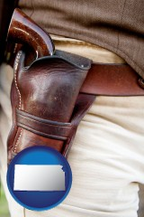 kansas a gun in a Western-style, leather holster