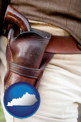 kentucky map icon and a gun in a Western-style, leather holster