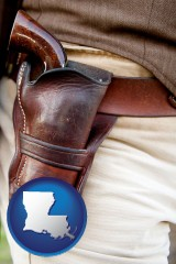 louisiana map icon and a gun in a Western-style, leather holster