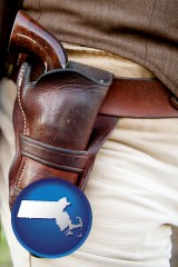 massachusetts map icon and a gun in a Western-style, leather holster