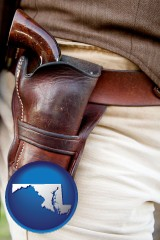 maryland map icon and a gun in a Western-style, leather holster