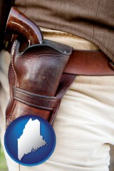 maine map icon and a gun in a Western-style, leather holster