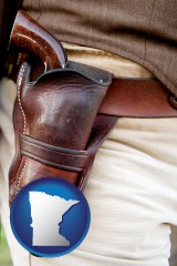 minnesota a gun in a Western-style, leather holster