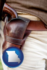 missouri map icon and a gun in a Western-style, leather holster