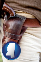 mississippi map icon and a gun in a Western-style, leather holster