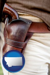 montana a gun in a Western-style, leather holster