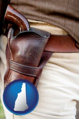 new-hampshire map icon and a gun in a Western-style, leather holster