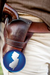 new-jersey map icon and a gun in a Western-style, leather holster