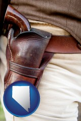 nevada map icon and a gun in a Western-style, leather holster
