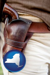new-york map icon and a gun in a Western-style, leather holster
