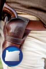 oregon a gun in a Western-style, leather holster