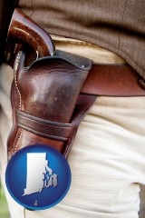 rhode-island map icon and a gun in a Western-style, leather holster