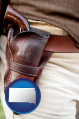 sd a gun in a Western-style, leather holster