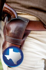 texas map icon and a gun in a Western-style, leather holster