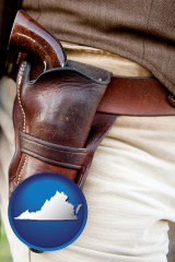 virginia map icon and a gun in a Western-style, leather holster