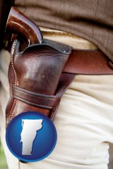 vermont map icon and a gun in a Western-style, leather holster