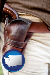 wa a gun in a Western-style, leather holster