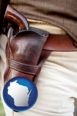 wisconsin map icon and a gun in a Western-style, leather holster