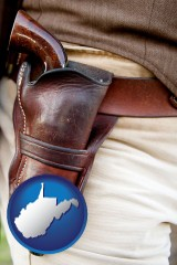 west-virginia a gun in a Western-style, leather holster