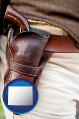 wyoming a gun in a Western-style, leather holster