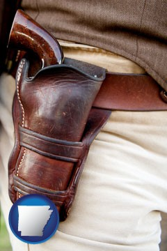 a gun in a Western-style, leather holster - with Arkansas icon