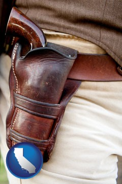 a gun in a Western-style, leather holster - with California icon