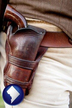 a gun in a Western-style, leather holster - with Washington, DC icon