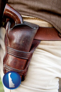 a gun in a Western-style, leather holster - with Delaware icon