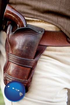 a gun in a Western-style, leather holster - with Hawaii icon
