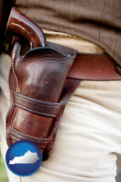 a gun in a Western-style, leather holster - with Kentucky icon