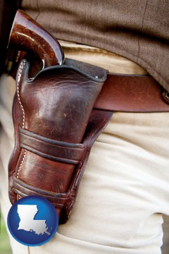 a gun in a Western-style, leather holster - with Louisiana icon