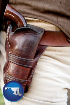 a gun in a Western-style, leather holster - with Maryland icon
