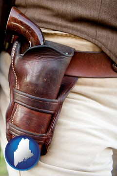 a gun in a Western-style, leather holster - with Maine icon