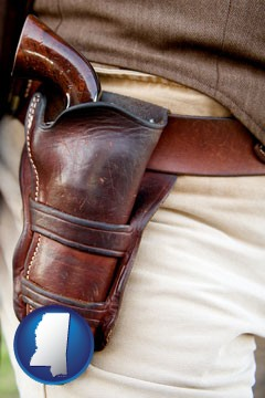 a gun in a Western-style, leather holster - with Mississippi icon