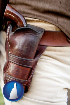 a gun in a Western-style, leather holster - with New Hampshire icon