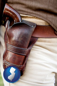 a gun in a Western-style, leather holster - with New Jersey icon