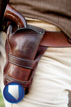 a gun in a Western-style, leather holster - with Nevada icon