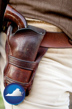 a gun in a Western-style, leather holster - with Virginia icon