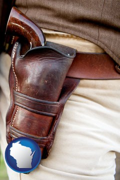 a gun in a Western-style, leather holster - with Wisconsin icon